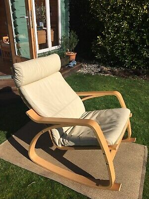 Ikea Poang Rocking Chair Cream Leather • 30£