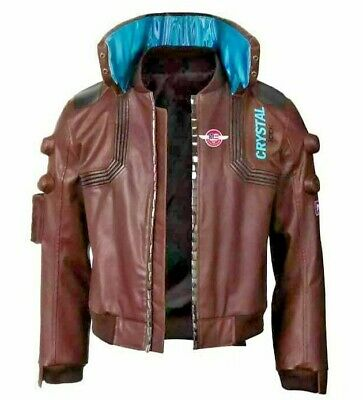 $ CDN163.66 • Buy Mens Cyberpunk 2077 Costume Jacket New Style Brown Leather Embroidery Jacket