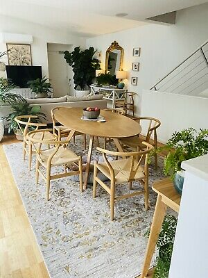 AU850 • Buy Natural Hans Replica Timber Dining Armchairs X 8