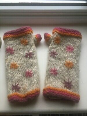 Pachamama 100%wool Fleece Lined Hand Made In Nepal Gloves • 5£