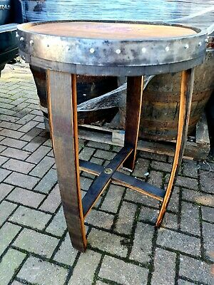 £220 • Buy Oak Whisky Barrel Top Table Handmade Dragon Hand Etched Gilded
