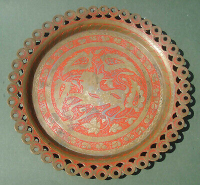 Hand Engraved, Brass Tray, Lion Design, 9  Dia, Free P&P. Indian?  Plate  • 14£