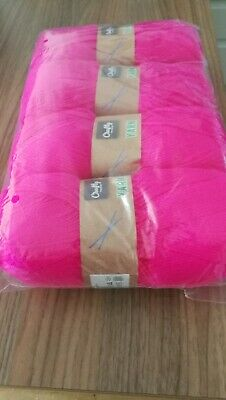 Double Knitting Wool 100g Balls New Pack Of 4 Bright Pink 400g In Total  • 9.99£
