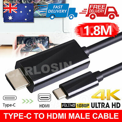 AU10.85 • Buy USB C To HDMI Cable USB 3.1 Type C Male To HDMI 4K UHD 1.8m Cable Thunderbolt 3
