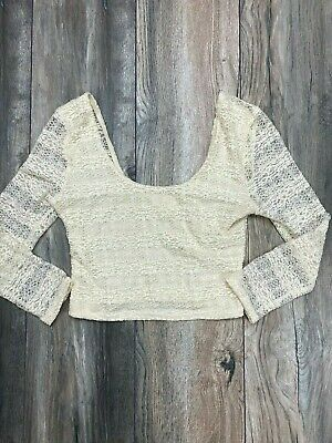 AU1.30 • Buy Urban Outfitters Pins & Needles Cream Lace Long Sleeve Crop Trop Womens Size S