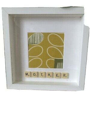 Handcrafted Scrabble Tile Mother Orla Kiely White Box Frame Picture • 12£