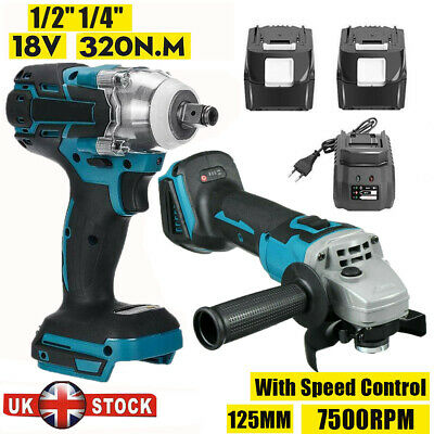18V Cordless Tool Combo Kit Cordless Impact Wrench Angle Grinder 3.Ah For Makita • 26.88£
