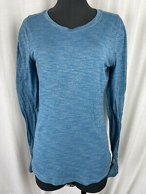 $ CDN34.24 • Buy Lululemon Heathered Blue Long Sleeve Back  Ruched Workout Top Size 8