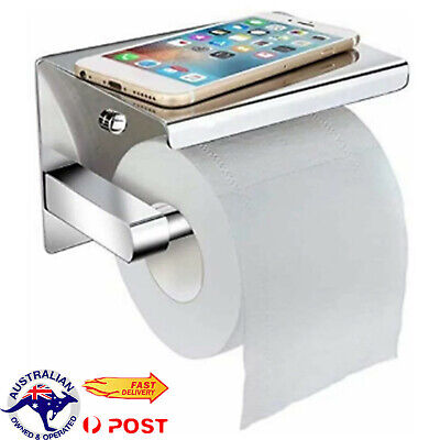 AU17.09 • Buy Toilet Paper Roll Holder With Shelf Polished Stainless Steel Bath Storage Holder