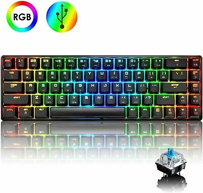 AU69.99 • Buy 60% True Mechanical Gaming Keyboard Type C Wired 68 Keys Blue Switch RGB Backlit