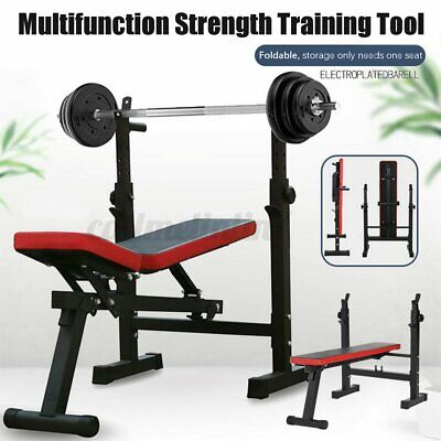 $ CDN439.90 • Buy  Adjustable Folding Squat Rack Strength Training Barbell With Weight Bench Tool
