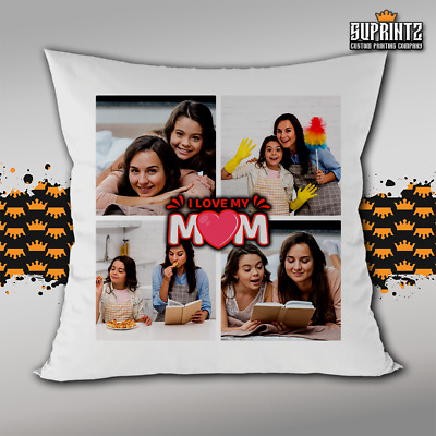 Personalised Photo Mother's Day Cushion Pillow Cover Custom Gift Collage 4 Pic • 8.99£