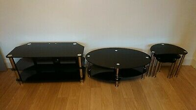 Modern Black Glass & Chrome Oval Coffee Table + TV Stand + Nest Of 3 Tables Set • 19.99£