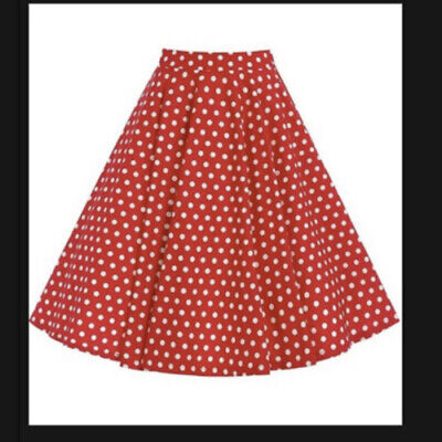 New Lindy Bop Red White Peggy Polka Dot Swing Circle Skirt Size UK 8-10 • 4£