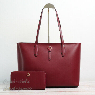 $ CDN88.75 • Buy NWT Kate Spade Adel Large Leather Tote And/Or Continental Wallet In Cherrywood