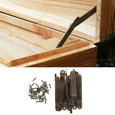 10X Antique Lid Support Hinges Display Stay Lift Up Jewelry Box Cabinet Hardware • 6.15£