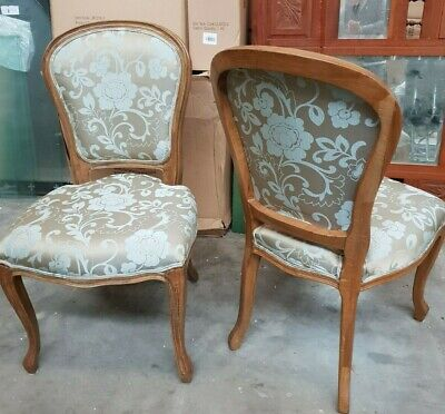 AU150 • Buy French Provincial Upholstered Dining Chairs Oak Timber - La Maison Damask Print
