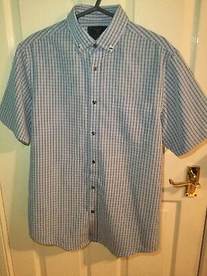 Mens Shirt - Blue Checked From Atlantic Bay - Size S • 2£