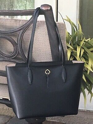 $ CDN162 • Buy Kate Spade Adel Small Tote Shoulder Bag Black Leather Laptop Satchel Gold $299