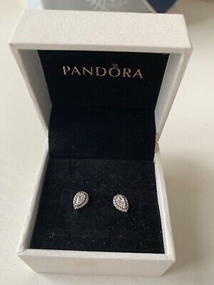 Genuine Pandora Stud Diamond Tear Drop Shaped Earrings  • 9.50£