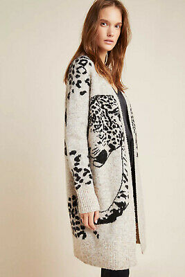 $ CDN61.85 • Buy Lucerne Leopard Long Sweater Cardigan Size M S/out @ Anthropologie Animal Print