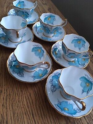 "Rare Set Of 6 Princess Anne Bone China Teacup And Saucers "" Blue Flower • 60£"