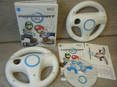 Mario Kart Wii. Nintendo Wii Game Complete With Manual+2 Official Wii Wheels • 10£