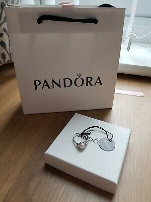 Genuine PANDORA Luminous Leaves Pearl Sterling Silver Ring Size 54. • 26£