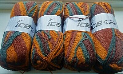ICE YARNS DESIGN WOOL LIGHT - 4x 100g Un-used Skeins - Variegated Colours • 9£