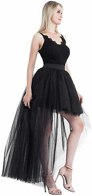 Bellady Women's High Low Mesh Net Lace Overlay Maxi Skirt, Black, Size One Size • 14.31£