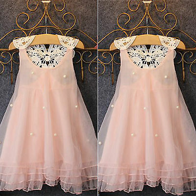 Kids Girls Flower Wedding Bridesmaid Tutu Tulle Dresses Party Princess Dress New • 5.89£