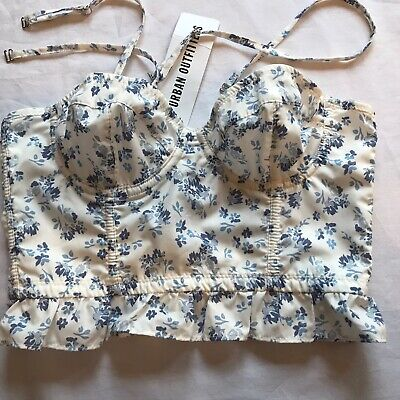 AU24.35 • Buy Urban Outfitters Corset Crop Top White Blue Floral Print Size XS UK 6