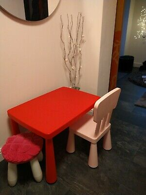 Kids IKEA Mammut Table Chair Stool Red Pink White Children's Furniture • 9.99£