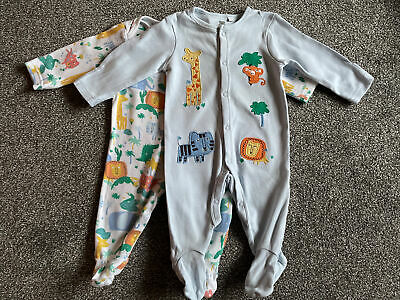 Baby Sleepsuits, Bluezoo, 3-6 Months, Jungle Animals • 0.99£