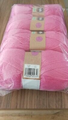 Double Knitting Wool 100g Balls New Pack Of 4 In Raspberry Pink • 9.99£