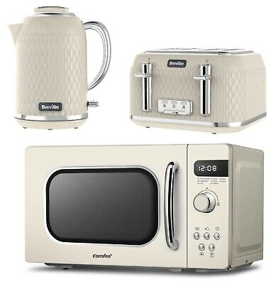 £259.99 • Buy COMFEE' Retro Style Microwave Oven With Breville Kettle & Toaster Set - CREAM