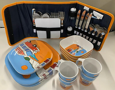 £61 • Buy Camping Picnic Melamine Dining Cutlery Set 4 Person Stainless Steel Camper Shop