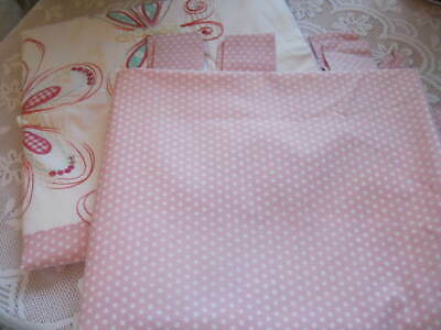 Next Girls Butterfly Embroidered Polka Dot Tab Top Lined Curtains 53  X 54   • 12.99£