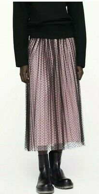 Zara Black And Pink Contrast Midi Skirt Pleated Size M • 24.99£