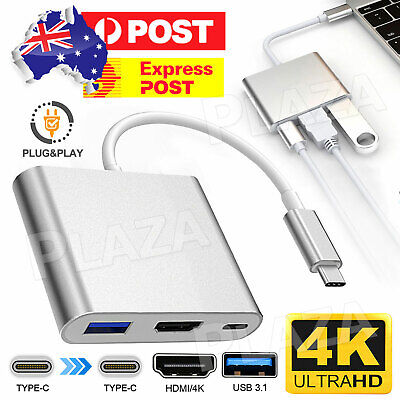 AU13.95 • Buy Type C To USB-C HDMI USB 3.0 Adapter Converter Cable 3 In 1 Hub For MacBook Air
