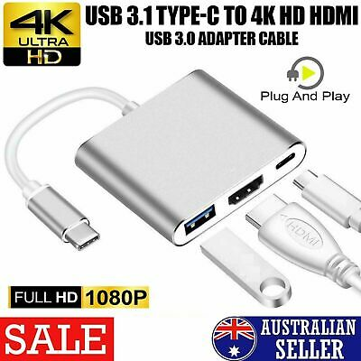 AU17.97 • Buy 4K HDMI USB 3.0 Type C To USB-C 3 In1 Hub Adapter Cable For Mccbook,Samsung,HTC