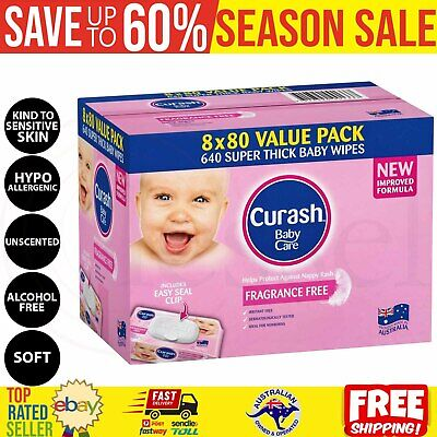 AU44 • Buy 640 Thick Baby Wipes Bulk Mega Pack Babycare Fragrance Free Sensitive Skin AU