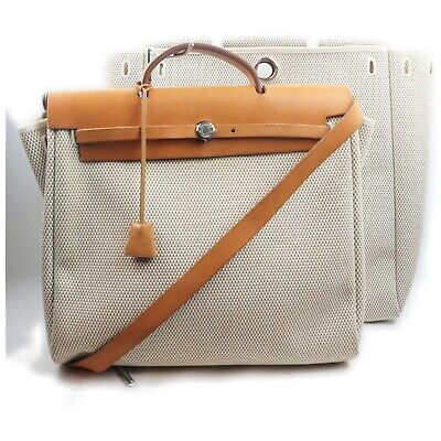 AU270.76 • Buy Hermes Tote Bag Her Bag MM Whites Canvas 1600980