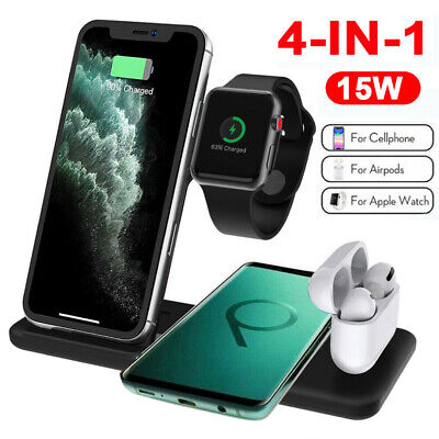 AU36.99 • Buy 4 In 1 Apple Qi Wireless Charger Charging Dock Stand Station Fr IPhone Watch AU