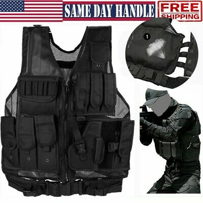 $35.99 • Buy Large Tactical Vest Military Gun Holder Molle Police Airsoft Combat Assault Gear