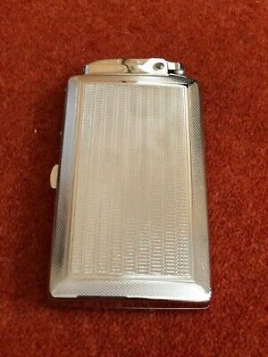 Vintage Chrome Cigarette Case/lighter Art Deco Good Condition Made In England • 4£