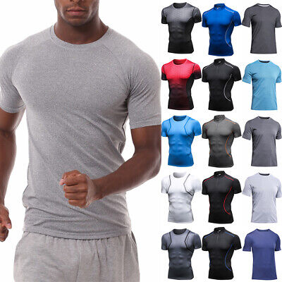 Men Compression Short Sleeve Workout T-Shirt Base Layer Jogging Fitness Gym Tops • 14.29£