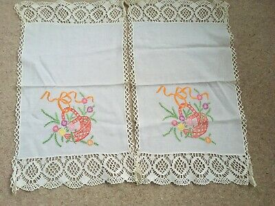 Two Vintage Hand Embroidered Antimacassars, Chair Back Covers With Lace Edging • 3£