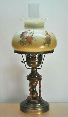 $ CDN76.12 • Buy Vintage Floral Gwtw Hurricane Lamp With Chimney Wood Hourglass Design