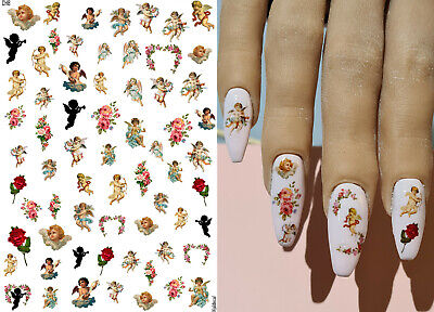 £2.75 • Buy Nail Art Water Decals Transfers - Cherub Angels Flowers Sillhouettes Wings Roses